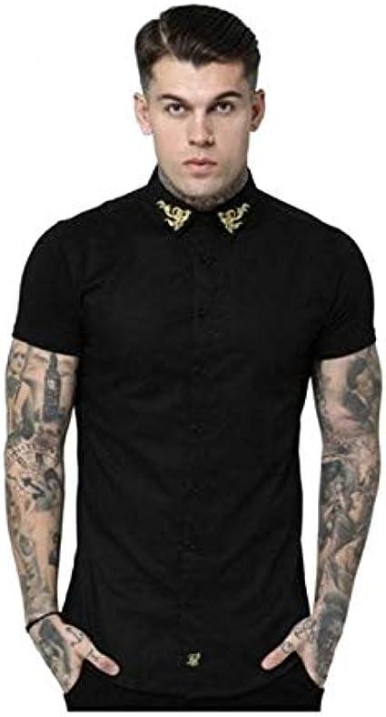 Siksilk Camisa Negra SS-15197: Amazon.es: Ropa y accesorios