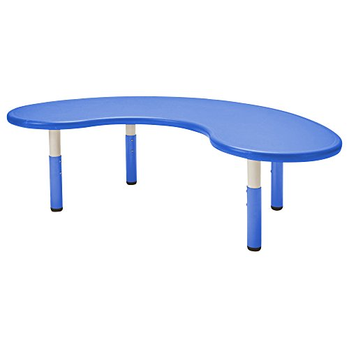 """ECR4Kids65"""" Kidney Resin Activity Table - Indoor/Outdoor Kids Table for Classrooms, Daycares, Playgrounds, Blue"""