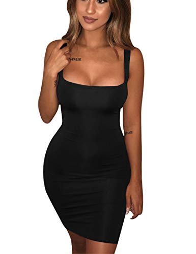 BORIFLORS Women#039s Casual Basic Tank Top Sexy Sleeveless Bodycon Mini Club Dress