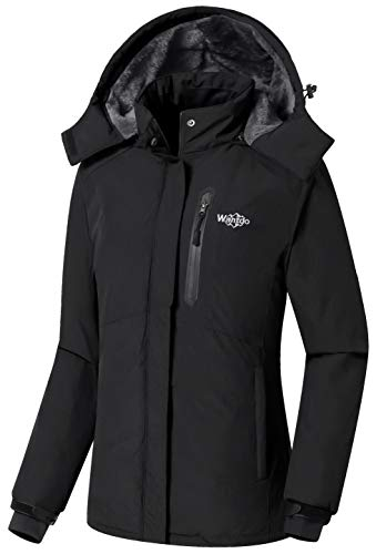 Wantdo Women's Detachable Hood Waterproof Fleece Lined Parka Windproof Ski Jacket Black US Large