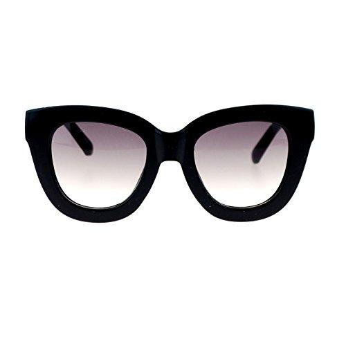 Womens Trendy Extra Thick Retro Plastic Frame Horn Rim Sunglasses Black - Extra Thick Frame