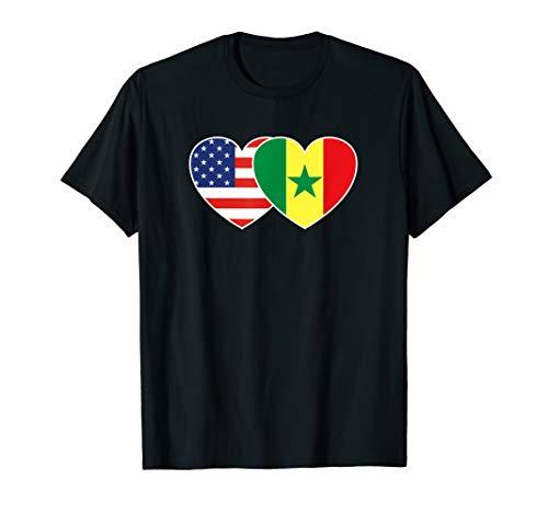 Senegal USA Flag Twin Heart T Shirt for Senegalese - Flag Senegal Colors