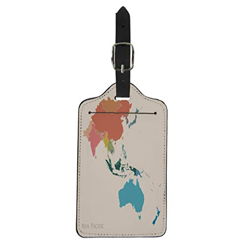 (Pinbeam Luggage Tag Blue East Map of Asia Pacific Vintage Color Suitcase Baggage Label)