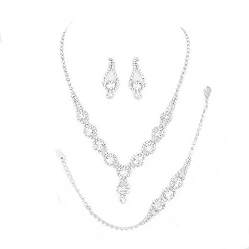 Christina Collection Affordable Wedding Jewelry Clear Bubble Rhinestone Pave Elegant Drop Set 3 Pcs Bracelet Earrings Necklace Set (Clear) ()