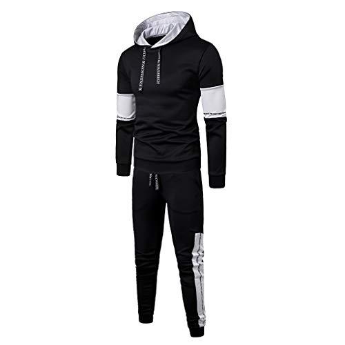 AmyDong Fashion Men's Long Sleeve Hooded Sweatshirt Turtleneck Patchwork Top Pants Sets Sport Suit Autumn Winter Tracksuit Black