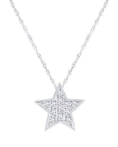 Round Cut White Natural Diamond Star Pendant Necklace in 14K Solid White Gold