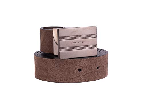 Givenchy Mens Brown Suede Distressed Plated Buckle Belt Size Large~RTL$550 ()