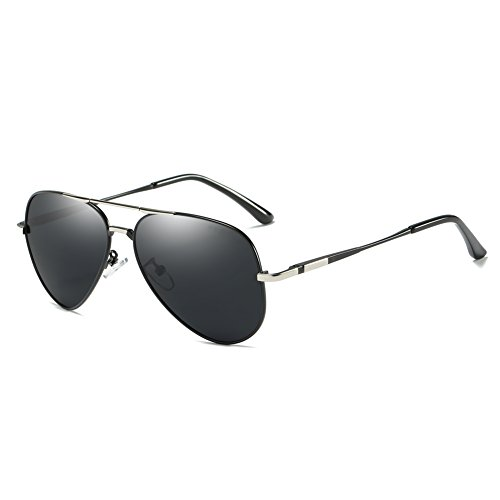 Aviator Polarized Sunglasses for Men and Women, ZHILE Military Style UV400 Protection with Sunglasses Case Medium Size 58mm (Black with Silver, Black - For Sunglasses Cataracts