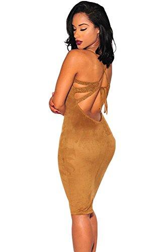 Neue Damen braun Suede Midi Kleid Club Summer Kleid Casual Party Kleid Größe S UK 10EU 38