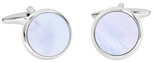 - David Van Hagen Mens Shiny Circle Mother of Pearl Cufflinks - White/Silver