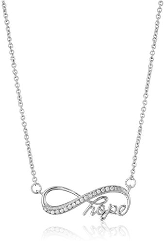- 925 Sterling Silver AAA Cubic Zirconia Infinity Hope Necklace, 18