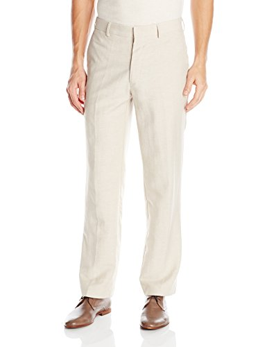 Cubavera Men's Easy Care Linen Blend Flat Front Pant, Khaki, 30x32 by Cubavera