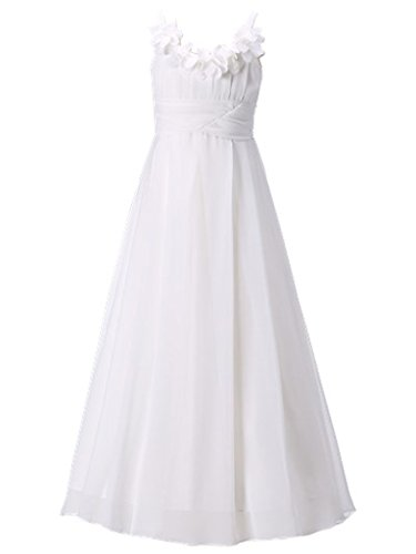 Happy Rose Long Chiffon Flower Girls Juniors Bridesmaid Dress Off-White -