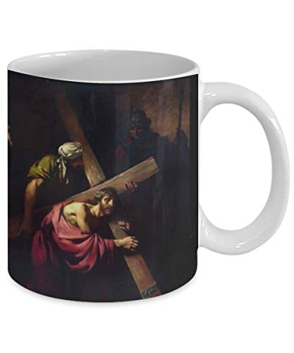 Jesus carries His Cross If anyone would come after me 11 oz Coffee Mug Tea Cup Catholic Christian Confirmation gift