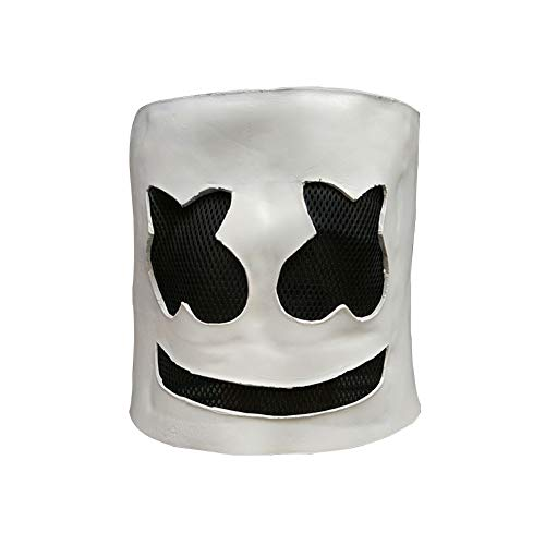 Marshmallow Mask,Electronic Syllable DJ Headgear Novelty Costume Party Mask Halloween DJ Mask Party Scary (White)]()