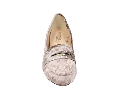 Fitters Footwear - Bailarinas de Terciopelo para mujer beige Taupe Velvet