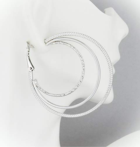 Silver Triple Hoop Earrings...
