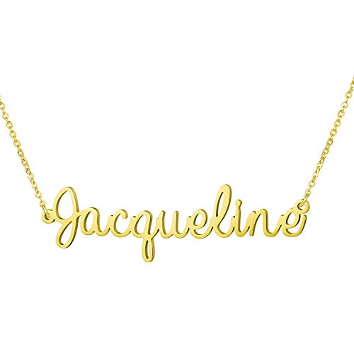 (Yiyang Couple Lover Name Necklace 18K Gold Plated Stainless Steel Personalized Jewelry Birthday Gift for Girls Jacqueline)