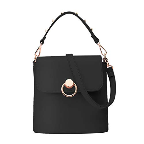Pearl Appliques Top Handle Handbags Trendy Crossbody Bag Satchel Shoulder Bucket Bag for Women ()