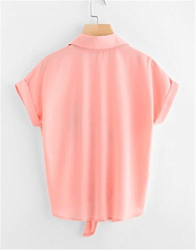 Femmes t Blouses T Courtes Classique Tkiemo Pink Chemises Chat Shirt Manches Brod Chemise Revers Top lgant wqC5xUEx