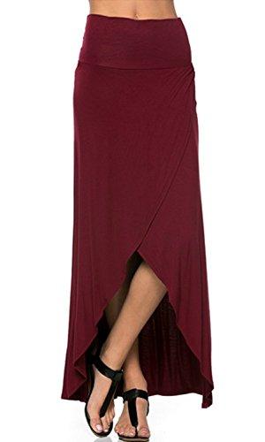 Azules Women's High Low Skirt, Medium, Wine Cotton Spandex Jersey Bandeau Dress