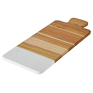 Teak Wood and Marble Cutting Board / Teak Wood and Marble Serving Board - 9.5 Inch, Brown