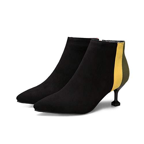Warm Alti Boots A Tacchi Donna Appuntita Con Black Da Stivaletti Women's Punta dPqYwgBg