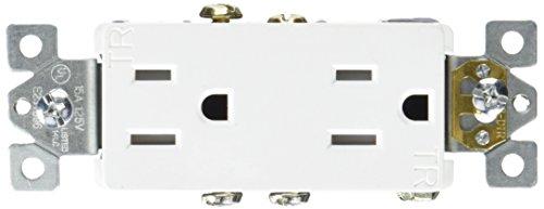 Morris 81961 Decorative Duplex Receptacle, Tamper Resistant, 15 Amp Current, 125V, White - Decorative Duplex Receptacle