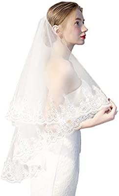 Simple Two Layer Sequined Lace Edge Wedding Veil Short Cathedral