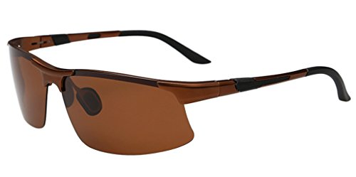 Eyekepper Demi-jante aluminium lunettes de soleil / lunettes solaires polarisees randonnee Patinage Motorsports Homme Marron-choco