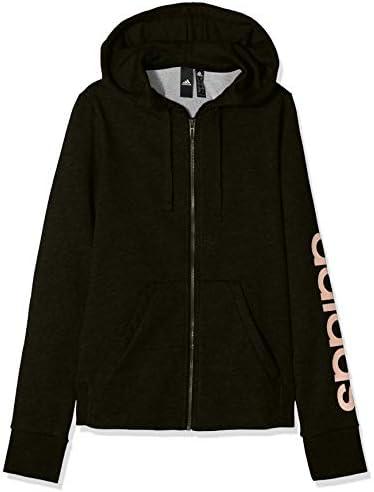 adidas Womens Essential Linear Full Zip Hoodie Black White XS