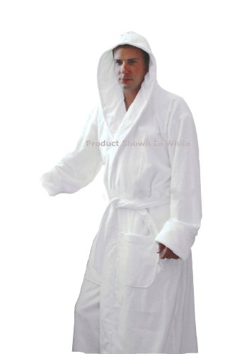 (Spa and Resort Hooded Terrycloth Bathrobe. Full Length 100% Turkish Cotton. Colors Available (White))