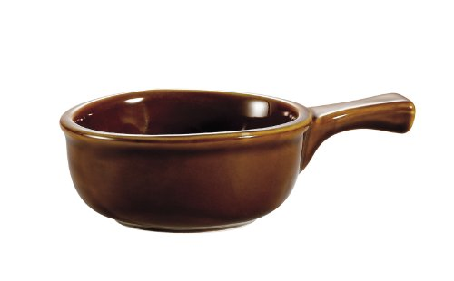 CAC China OC-15-H 15-Ounce Stoneware Round Onion Soup Crock with Handle, 7-1/2 by 5 by 2-1/4-Inch, Brown, Box of 24 by CAC China