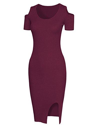 HRYfashion Damen modisches Bodycon-Kleid Schulteraussparungen Weinrot NvzoE3