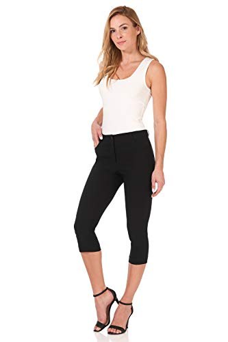 Rekucci Women's Iconic Comfort Stretch 5 Pocket Slim Fit Skinny Capri w/Zipper Closure (18,Black) ()