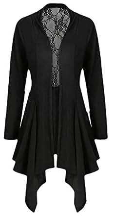 Macondoo Women Lace Irregular-Hem Cardigan Outwear Open Front Jacket Black XS