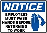 Accuform Signs 10'' X 14'' Blue, Black And White 4 mils Adhesive Vinyl Housekeeping Sign ''NOTICE EMPLOYEES MUST WASH HANDS BEFORE RETURNING TO WORK''