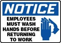 Accuform Signs 10'' X 14'' Blue, Black And White 4 mils Adhesive Vinyl Housekeeping Sign ''NOTICE EMPLOYEES MUST WASH HANDS BEFORE RETURNING TO WORK'' by Accuform Signs (Image #1)