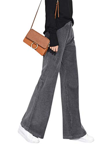 - Women's Vintage Flare-Leg Corduroy Pants Comfort Boot Cut Pant (Grey, Large)