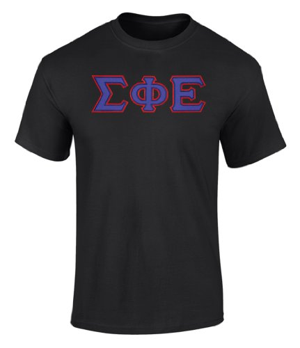 (Fashion Greek Sigma Phi Epsilon Twill Letter Tee Black 1 Large)