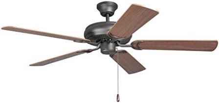 Litex DCF52FBZ5 Decorator s Choice Ceiling Fan with Five Reversible Mahogany Dark Oak Blades, Light Kit Adaptable, 52-Inch