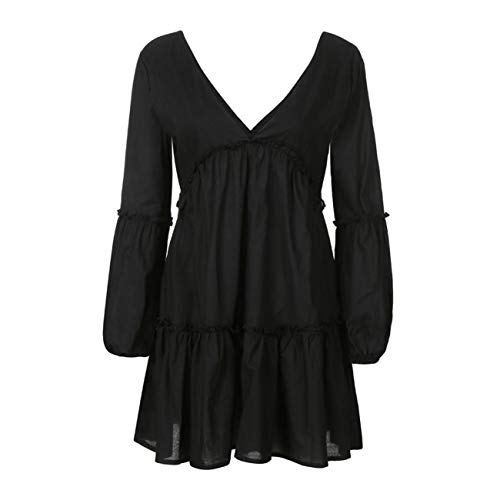 Mini Cerimonia Manica Increspatura Vestiti Festa Estate Serale Gonna Nero Amuster Casuale Elegante Sexy Donna Lunga Abito APFXxqw