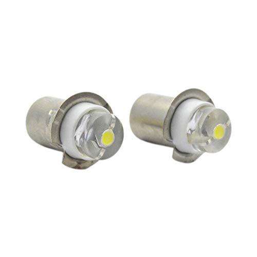 (Ruiandsion 2pcs P13.5S Torch Light Bulb 3-18V 0.5W 6000K White LED Light Bulb,150 Lumens,Negative Earth)