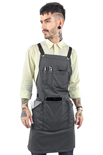 Under NY Sky Essential Armor Gray Apron - Cross-Back with Durable Twill and Leather Reinforcement - Adjustable for Men and Women - Pro Chef, Tattoo Artist, Baker, Barista, Bartender, Server Aprons