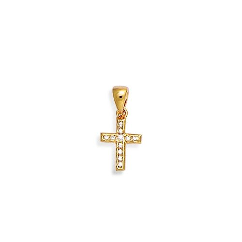 Pendentif en Plaqué Or et Oxyde de Zirconium Forme Croix Catholique