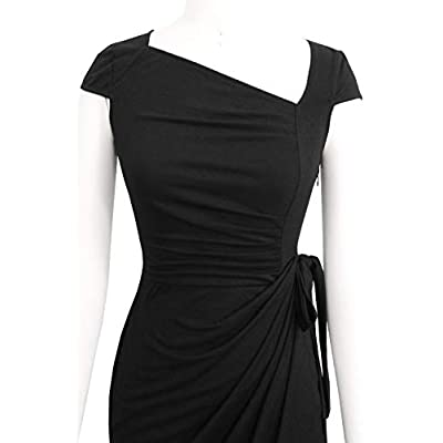 Liyinxi Women's Retro 1950s Cap Sleeve Knee-Length Sheath Slim Business Casual Party Ruched Bodycon Faux Wrap Dress at Women's Clothing store