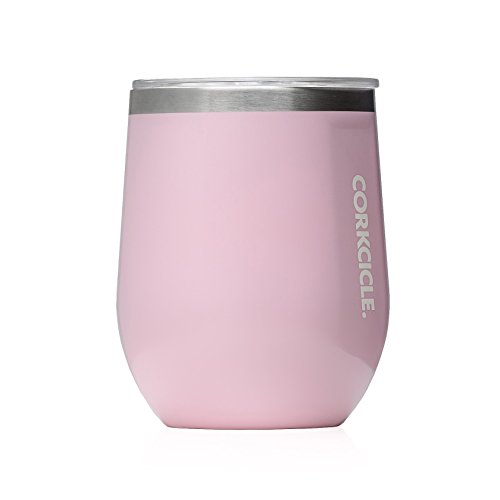 - Corkcicle 12 oz Triple-Insulated Stemless Glass (Perfect for Wine) - Gloss Rose Quartz