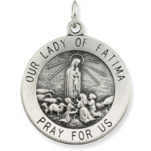 18.5 Sterling Silver Rd Our Lady Of Fatima Pend Med W/ 18 Inch Chain