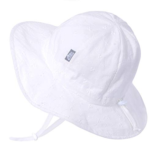 (Girls Boys Breathable Sun-Hat 50 UPF, Size Adjustable, Stay-on Tie (XL: 5-12Y, White Eyelet) )