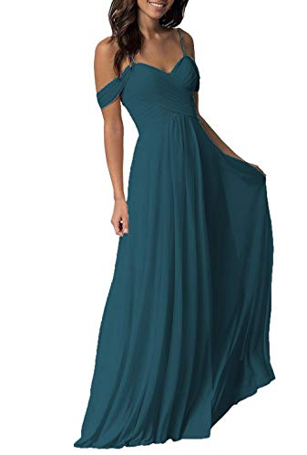 Dark Teal Wedding Bridesmaid Dresses Long Cold Shoulder Chiffon Formal Party Dress for Women